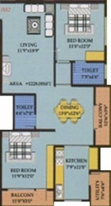 Purvi Purvi Grand (2BHK+2T (1,228 sq ft) Apartment 1228 sq ft)