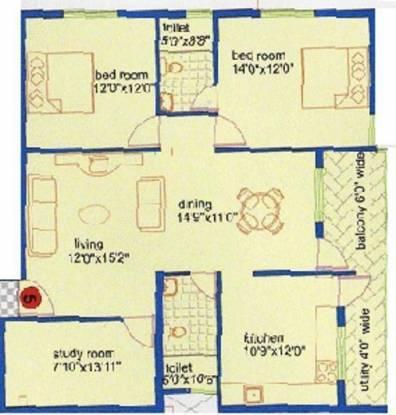 Purvi Vasanth Sunshine (2BHK+2T (1,375 sq ft)   Study Room Apartment 1375 sq ft)