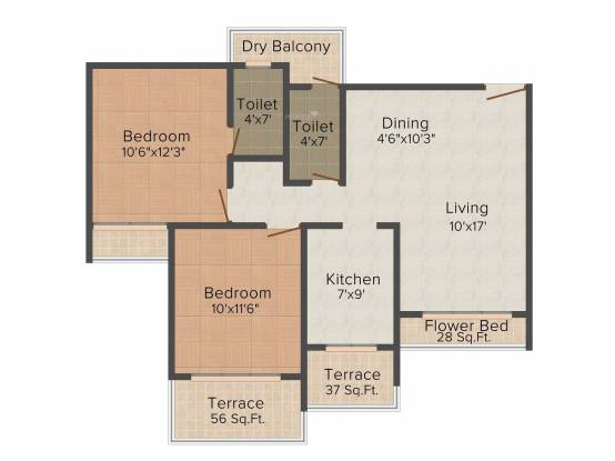 Shree Balaji Om Harmony (2BHK+2T (1,179 sq ft) Apartment 1179 sq ft)