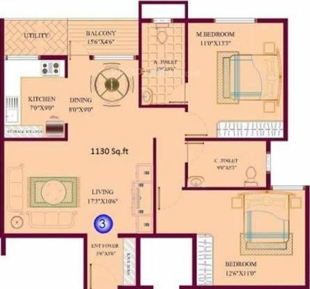 KPR Elite (2BHK+2T (1,130 sq ft) Apartment 1130 sq ft)
