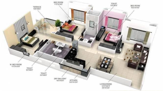 Goel Ganga Satellite (3BHK+3T (1,630 sq ft) Apartment 1630 sq ft)