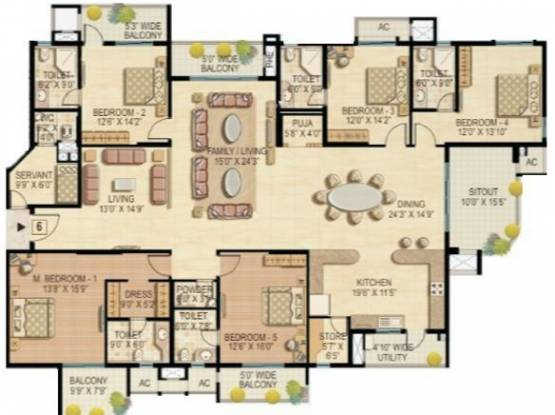 Raheja Quiescent Heights (5BHK+5T (4,375 sq ft)   Servant Room Apartment 4375 sq ft)