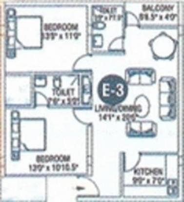 VM Meadows (2BHK+2T (1,018 sq ft) Apartment 1018 sq ft)