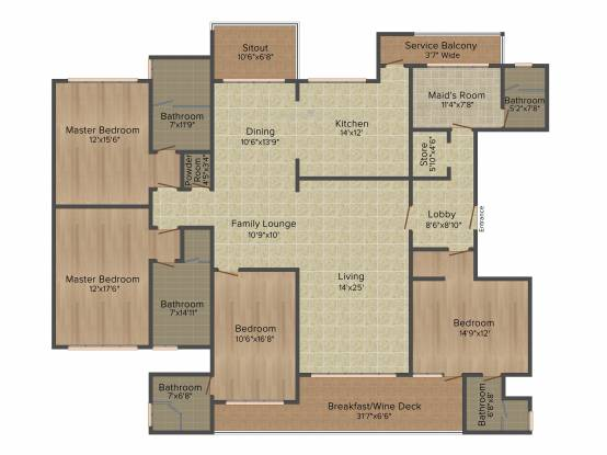 Panchshil One North (4BHK+4T (3,250 sq ft) + Servant Room Apartment 3250 sq ft)