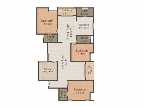 Jain Surabhi (3BHK+3T (2,152 sq ft) + Study Room Apartment 2152 sq ft)