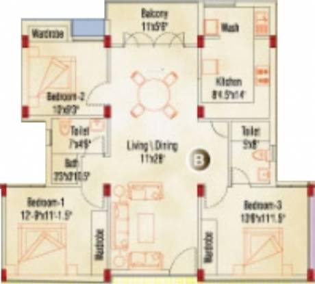 Appaswamy Springs Apartment (3BHK+3T (1,307 sq ft) Apartment 1307 sq ft)