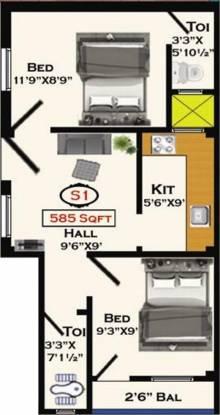 Devi Navapushpam (2BHK+2T (585 sq ft) Apartment 585 sq ft)