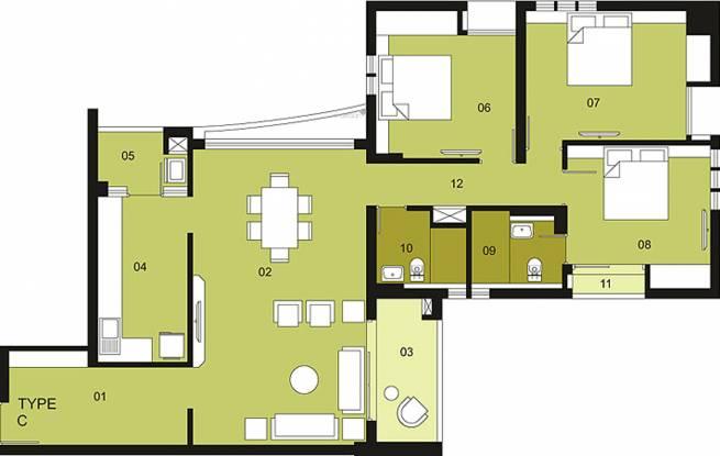 Ambuja Upohar (3BHK+3T (1,843 sq ft) Apartment 1843 sq ft)