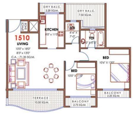 Akshar Sai Radiance (2BHK+2T (1,510 sq ft) Apartment 1510 sq ft)