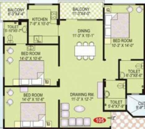 Vardhman Vardhman Apartment (3BHK+3T (1,443 sq ft) Apartment 1443 sq ft)