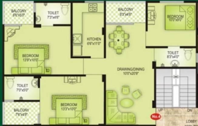 Vardhman Majesty (3BHK+3T (1,271 sq ft) Apartment 1271 sq ft)