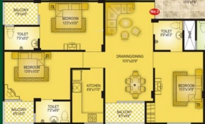 Vardhman Majesty (3BHK+3T (1,384 sq ft) Apartment 1384 sq ft)