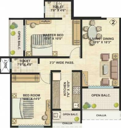 Bhoomi Ekta Garden Phase III (2BHK+2T (1,027 sq ft) Apartment 1027 sq ft)