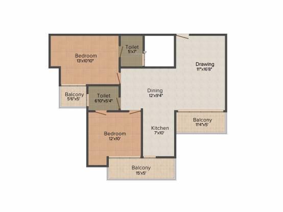 Sarvottam KSN Square (2BHK+2T (1,275 sq ft) Apartment 1275 sq ft)