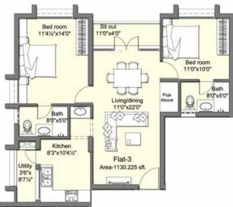 Krishna Tivoli Gardens (2BHK+2T (1,130 sq ft) Apartment 1130 sq ft)