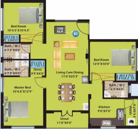 SM Aksharaa (3BHK+3T (1,220 sq ft) Apartment 1220 sq ft)