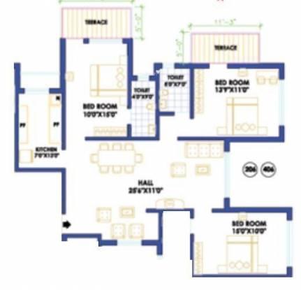 Raheja Gardens (3BHK+3T (1,482 sq ft) Apartment 1482 sq ft)