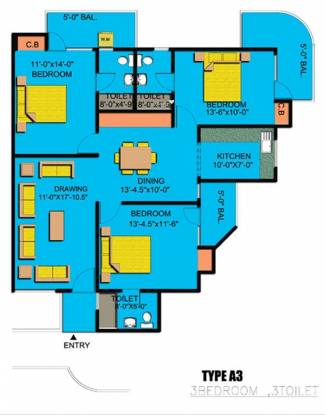 Express Garden (3BHK+3T (1,650 sq ft) Apartment 1650 sq ft)