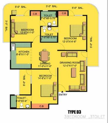 Express Garden (3BHK+3T (1,870 sq ft) Apartment 1870 sq ft)