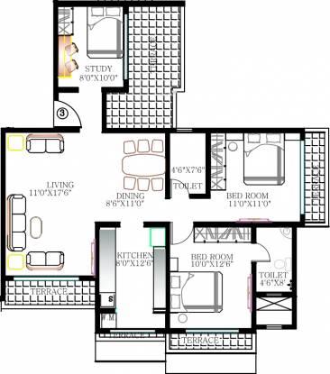 Kabra Rageshree (2BHK+2T (1,425 sq ft)   Study Room Apartment 1425 sq ft)