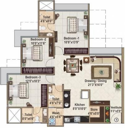 Ajmera And Sheetal Casa Vyoma (3BHK+3T (1,665 sq ft) Apartment 1665 sq ft)