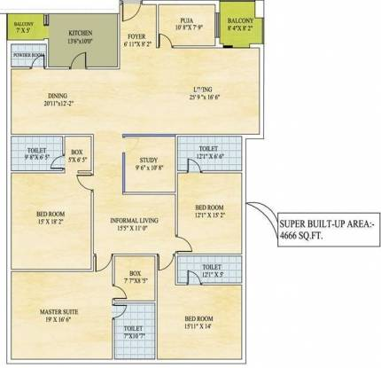 Avani Sri Avani (4BHK+4T (4,666 sq ft)   Study Room Apartment 4666 sq ft)