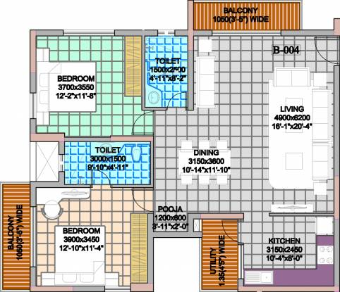 GR Heights (2BHK+2T (1,417 sq ft) Apartment 1417 sq ft)