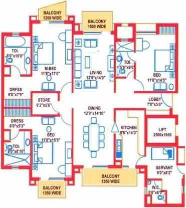 Suncity Heights (3BHK+3T (2,341 sq ft)   Servant Room Apartment 2341 sq ft)