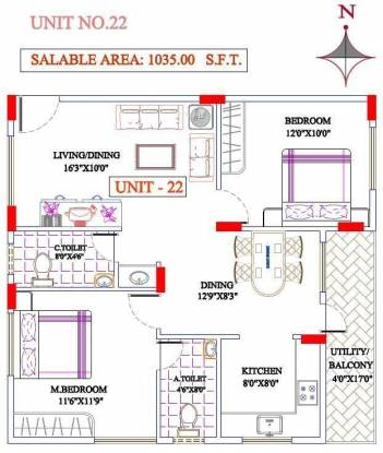 MBR Steeple (2BHK+2T (1,035 sq ft) Apartment 1035 sq ft)