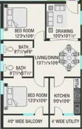 Dhaani 9 Square (2BHK+2T (1,082 sq ft) Apartment 1082 sq ft)