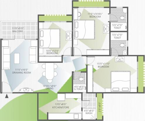 Goyal Orchid Whitefield (3BHK+3T (1,678 sq ft) Apartment 1678 sq ft)