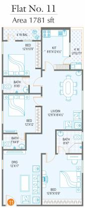 Jubilee Cyber Grande (3BHK+3T (1,781 sq ft) Apartment 1781 sq ft)