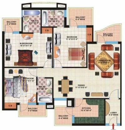 Pardesi Ushay Tower (3BHK+3T (1,643 sq ft) Apartment 1643 sq ft)