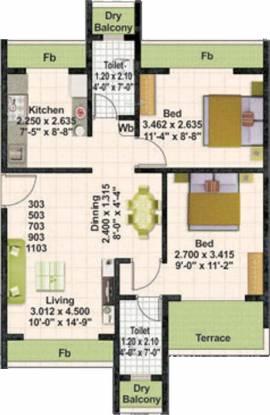 Juhi Lawns (2BHK+2T (1,038 sq ft) Apartment 1038 sq ft)