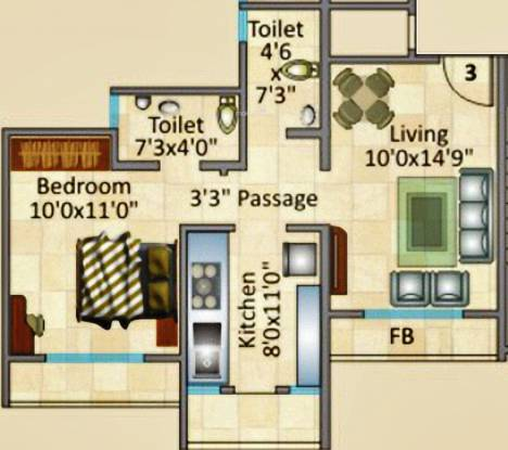 Rosa Royale (1BHK+2T (635 sq ft) Apartment 635 sq ft)