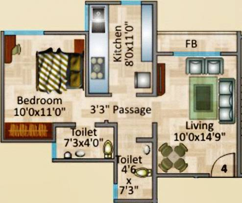 Rosa Royale (1BHK+2T (700 sq ft) Apartment 700 sq ft)