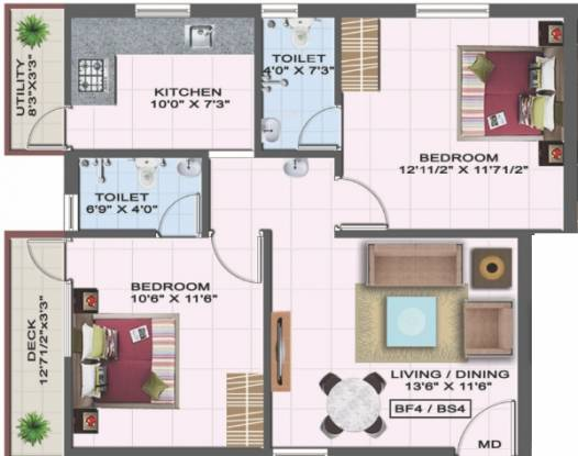 Colorhomes Gates (2BHK+2T (873 sq ft) Apartment 873 sq ft)