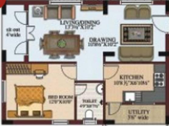 RV Silpa Hilltop (1BHK+1T (821 sq ft) Apartment 821 sq ft)