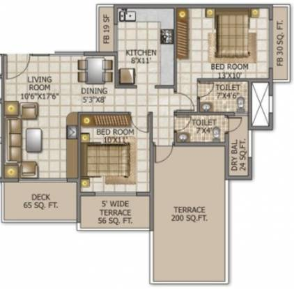 Swaraj Queensbay (2BHK+2T (1,251 sq ft) Apartment 1251 sq ft)
