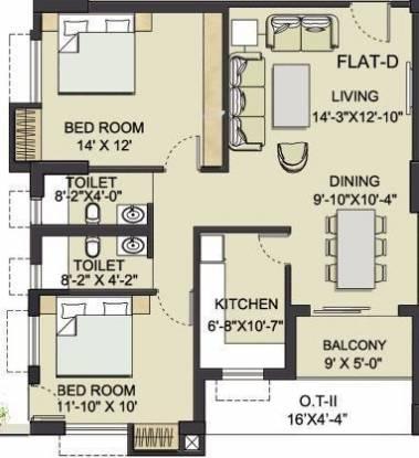 Bengal Saroshi (2BHK+2T (825 sq ft) Apartment 825 sq ft)