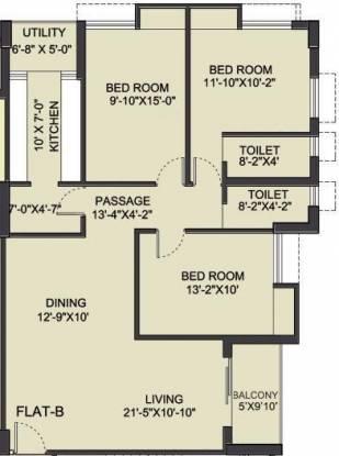 Bengal Saroshi (3BHK+3T (1,620 sq ft) Apartment 1620 sq ft)