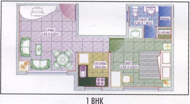 Royal Palms Garden View (1BHK+1T (540 sq ft) Apartment 540 sq ft)