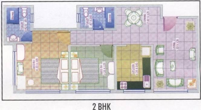 Royal Palms Garden View (2BHK+2T (974 sq ft) Apartment 974 sq ft)