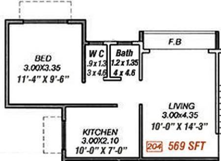 Moraj Prithvi Park (1BHK+1T (569 sq ft) Apartment 569 sq ft)