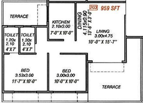 Moraj Prithvi Park (2BHK+2T (959 sq ft) Apartment 959 sq ft)