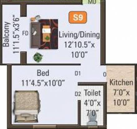 Satham Angela Apartments (1BHK+1T (547 sq ft) Apartment 547 sq ft)