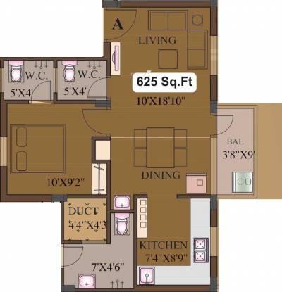 Natwest Vivas (1BHK+2T (625 sq ft) Apartment 625 sq ft)