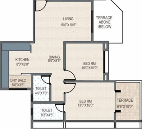 GK Rose Woods (2BHK+2T (910 sq ft) Apartment 910 sq ft)