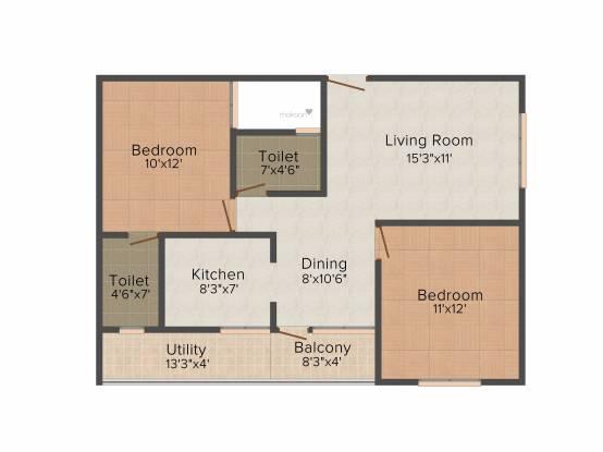 SV Alphyne (2BHK+2T (1,000 sq ft) Apartment 1000 sq ft)
