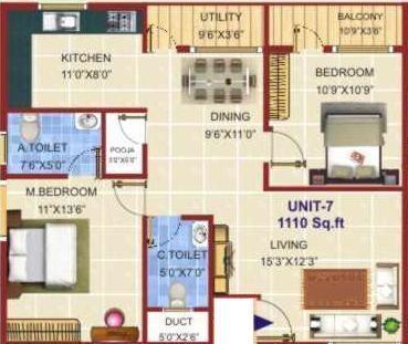 Sreenidhi Elite (2BHK+2T (1,110 sq ft) Apartment 1110 sq ft)